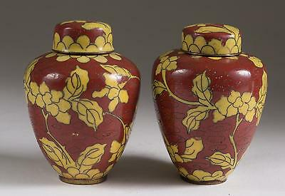 Fine Old Pair China Chinese Miniature Prunus Cloisonne Ginger Jars ca. 19-20th c