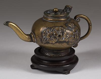 Japan Japanese Brass Miniature Teapot w/ Relief Floral Decoration ca. 19-20th c.