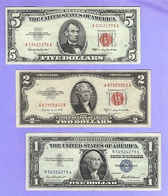 OLD MONEY $1 SILVER Certificate Blue+ OLD RED Seal $2 & $5 Dollar Bills US Notes