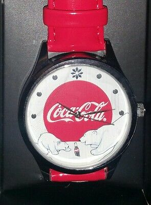 "NEW Coca Cola Christmas Polar Bear Watch 9"" Red Band Official Coca Cola Product"