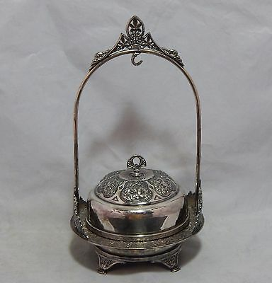 Antique Ornate Hartford Silverplate Co Covered Butter Dish with Hanging Hook