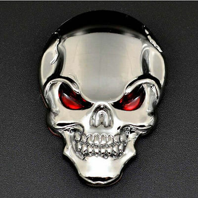 Chrome Skull Skeleton 3D Metal Car Motorcycle Decal Stickers Emblem Badge Cool