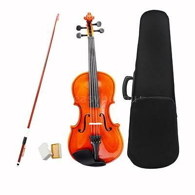 New 1/4 Natural Acoustic Violin Fiddle with Case Arbor Bow for Aged 8-10 P6D6