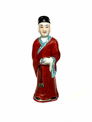CHINESE Republic Period Court Official Scholar Figure Robed Jade Scroll Figurine