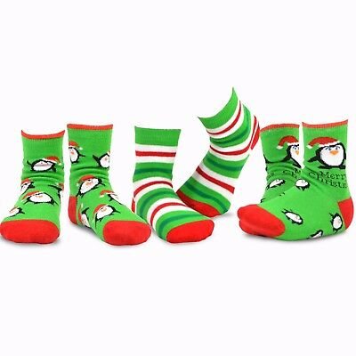 TeeHee Christmas Kids  Fun Crew Socks 3-Pair Pack (All Over Penguin Stripe)