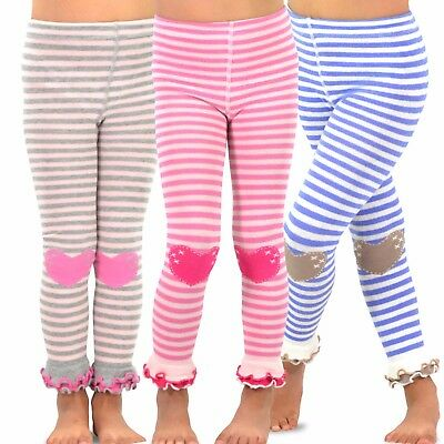 3968f4b2ba190 TeeHee Kids Girls Footless Tights Ruffle Bottom 3 Pair Pack (Stripe with  Heart)