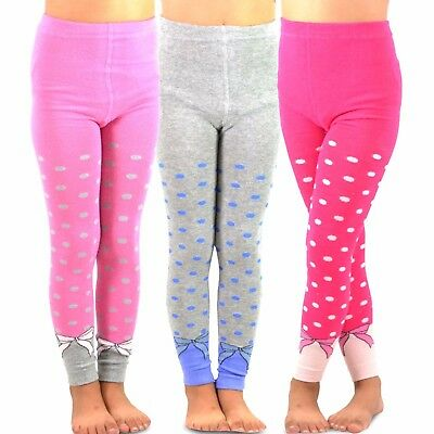 TeeHee Kids Girls Fashion Footless Tights 3 Pair Pack Dots & Bows Soft Cute