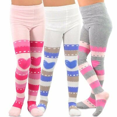 TeeHee Kids Girls Fashion Footless Tights 3 Pair Pack (Striped with Heart)