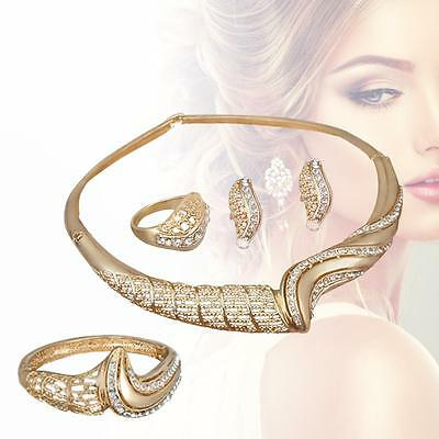 African Costume Gold Plated Crystal Wedding Party Necklace Ring Jewelry Sets #8