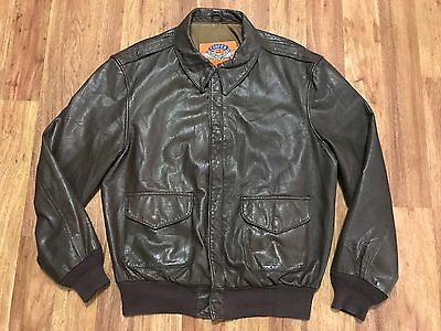 Mens Vtg Cooper A-2 U.S. Air Force Goatskin Leather Flight Bomber Jacket 44L USA