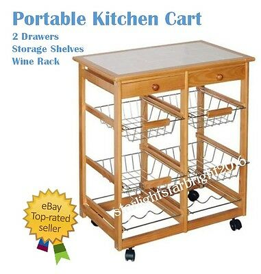 Kitchen Island Bench Portable Cart Trolley Rolling Storage Table Utility Food