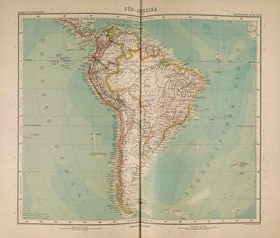 Stielers Hand-Atlas Map 1907 Justus Perthes Gotha South America