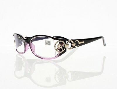 Black&Purple Rectangle Frame Rhinestone Reading Glasses +1.00 +1.50 Readers