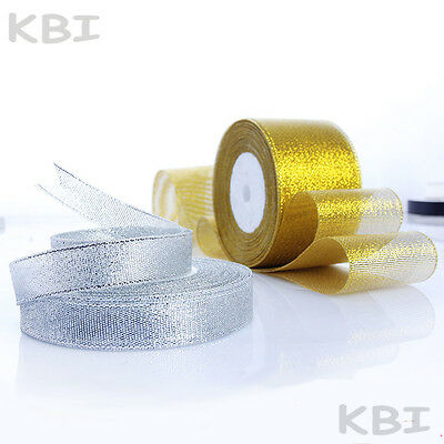 Berisford Sparkly Lame Ribbon Silver Gold Copper Christmas Glitter 10,15,25,40mm