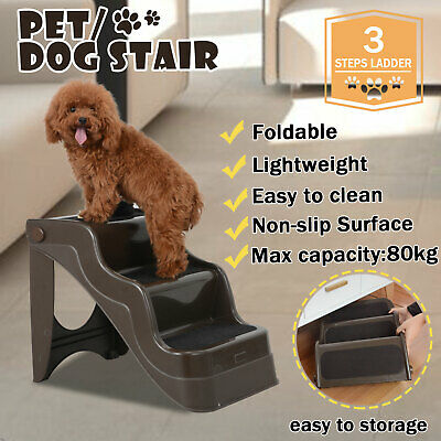 Portable Pet 3 Steps Dog Stairs Folding Doggy Cat Ladder Ramp Washable Non-slip