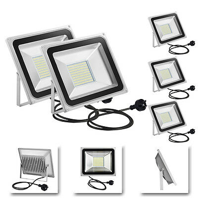 5x 100W AU Plug Cool White LED SMD Flood Light Outdoor Spot Wall Work Floodlight