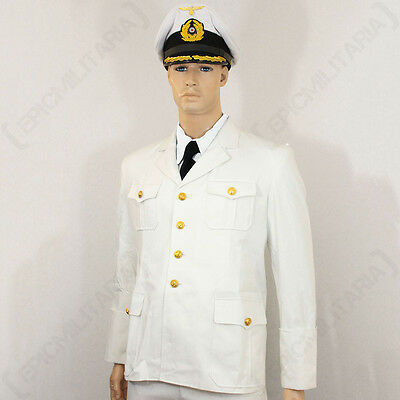 WW2 German Kriegsmarine Officer White Tunic - Repro Navy Sailor Shirt Top Jacket