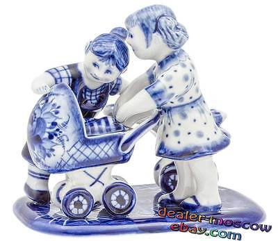 Russian Porcelain Gzhel Hand Painted Figurine Brownie with a Cat on an Oven