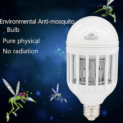 E27 15W LED Insect Zappers Light Bulb Mosquito Flying Insects Moths Killer lamp