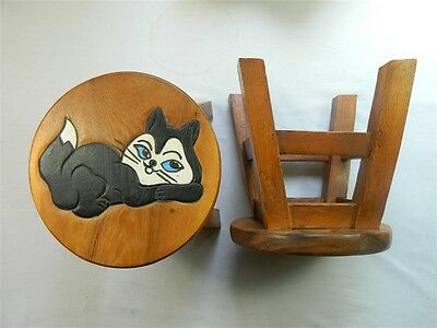 Childs Childrens Wooden Stool - Black Cat Step Stool