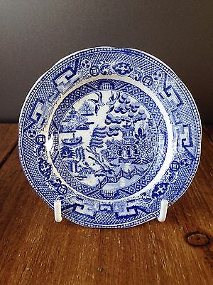 ANTIQUE 19thC 3.75 INCH MINIATURE SALESMANS SAMPLE PLATE OLD WILLOW BLUE & WHITE