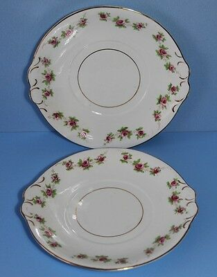 BLYTH Diamond China. Pink Roses 2 x Bread and Butter Plates    c1913~1935