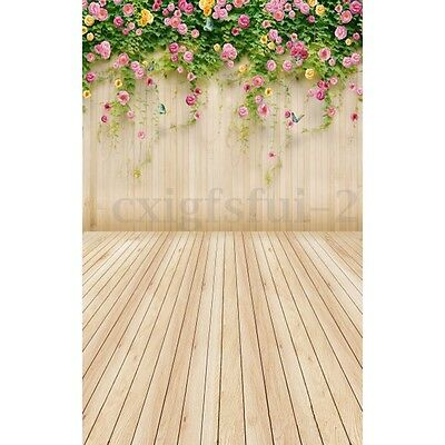 3x5FT Flower Leaves Wood Wall Photography Backdrop Photo Studio Prop Background