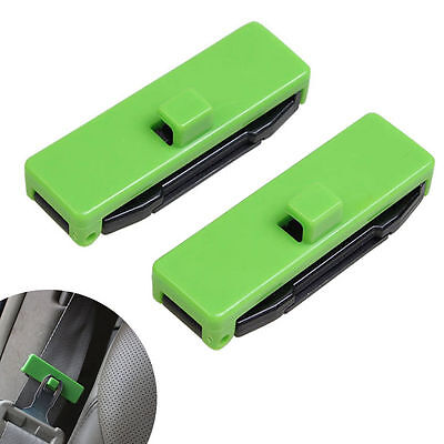 1 Pair Car Auto Seat Belt Adjuster Locking Stopper Safty Aid. Green. UK Supplier