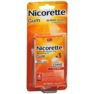 Nicorette 4Mg Fruit Chill Coated Stop Smoking Aid Gum - 20 Count