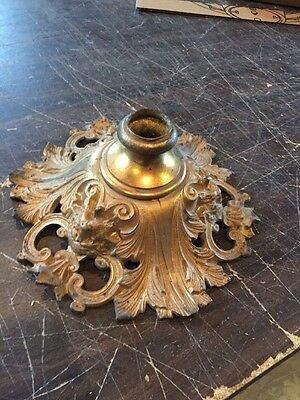 Antique Very Decorative Figural Cast Brass Bronze Canopy For Early Chandelier