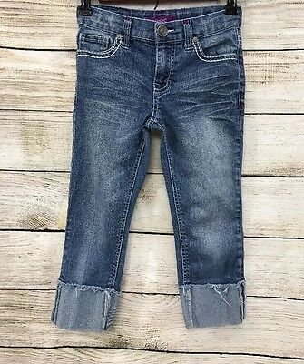 Vigoss Kids Girls Sz 10 Capri Jeans Cuffed Medium Wash BinC Adjustable Waist