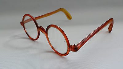 Original Vtg 30s Amber Birmite Steampunk Spectacles Reading Glasses Made England