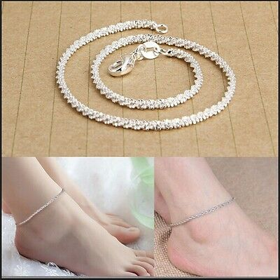 Womens 925 Sterling Silver Ankle Bracelet  Anklet Foot Jewelry Chain Beach UK