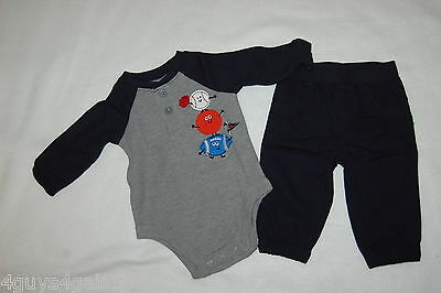 977a12413224 Baby Boys Outfit L/S GRAY HENLEY SHIRT Sports Ball NAVY BLUE PANTS Casual 3