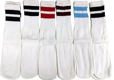 6 Pairs of excell Children's Referee Tube Socks, Boys Girls (White with Stripes)