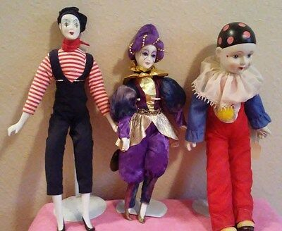 Hand Painted Porcelain Clowns - Lot Of 3 -  W/Stands