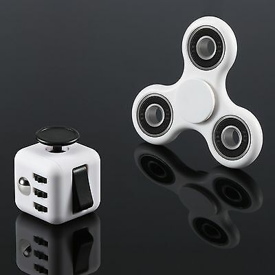 Fidget Cube + Hand Spinner Anxiety Stress Relief Focus Desk Toy Gift Adults Kids