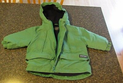 Toddler Boys Winter Jacket. Size 2T. Green Fleece Lined. LANDS END warm coat.