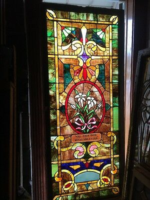 Sg 1420 Antique Stainglass Landing Window 33 X 78