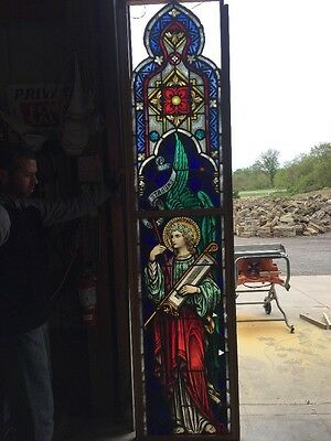 Antique Painted And Fired Stain Glass Angel Window Musical Instrument