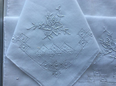 New Vintage 1980s Boxed Ladies Handkerchiefs, White Cotton, Floral Embroidery