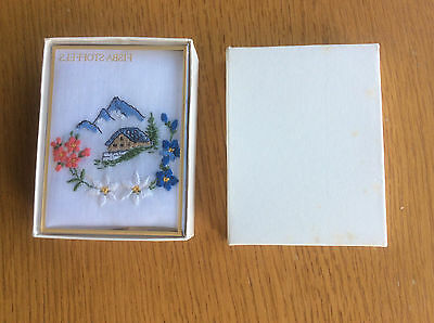 New Vintage Ladies Handkerchief, White Cotton, Mountain Embroidery, Switzerland