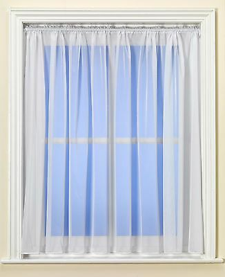 White Net Curtain PLAIN Design - Weighted Hem - NEW - SELECTED SIZES - CLEARANCE