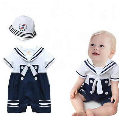 Baby Boy Sailor White Navy Romper with Hat Suit Grow Summer Outfit 3M-24 M