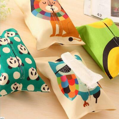 Cartoon Animal Print Tissue Paper Storage Box Cotton Linen Napkin Cover Holder