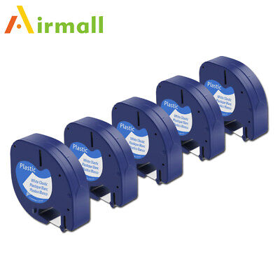 5PK Compatible for DYMO Letra Tag Label Tape 91331 Black on white Plastic 12mm