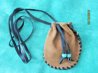 Brown & Black Suede Leather Medicine Neck Bag Neck Pouch Glass Beads