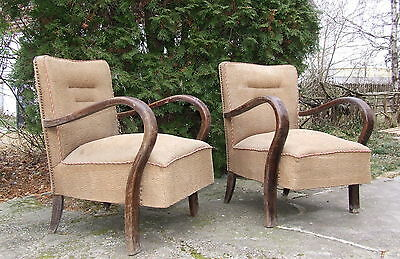 Pair Art Deco Armchairs. Club Chairs For Restoration 1920s 1930s Vintage Antique