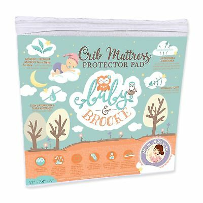 Organic Crib Mattress Cover Pad  Waterproof and Breathable Bamboo Baby Mattre...