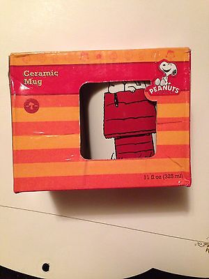 Peanuts Coffee Mug Snoopy & Woodstock On Red Dog House, New In Box